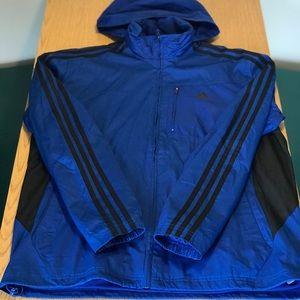 Adidas full zip wind breaker jacket packable hood